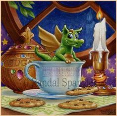 Peek A Boo by Randal Spangler -- This hangs by my desk and inspires me Dragon Tea, Baby Dragon, Magical Creatures, Fantasy Creatures, Fantasy Dragon, Fantasy Art, Randal, Fantasy Drawings, Dragon Pictures