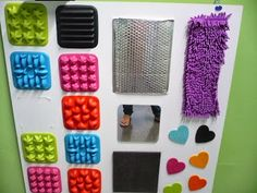 this site lists some really cool ideas for sensory boards and sensory wall. Sensory Wall, Sensory Rooms, Sensory Boards, Sensory Bins, Sensory Activities, Infant Activities, Activities For Kids, Sensory Garden, Activity Board