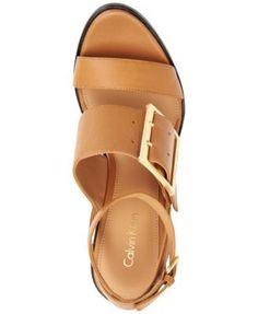 Calvin Klein Pemba Wedge Sandals - Tan/Beige 9.5M