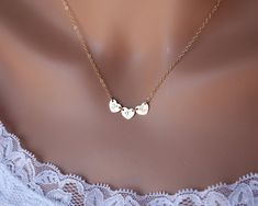14K gold THREE hearts necklace initial necklace heart by untie