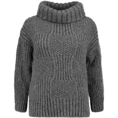 Vilshenko Svetlana wool-blend turtleneck sweater (410 AUD) ❤ liked on Polyvore featuring tops, sweaters, dark gray, polo neck sweater, chunky knit sweater, turtleneck sweater, wool-blend sweater and dark grey sweater