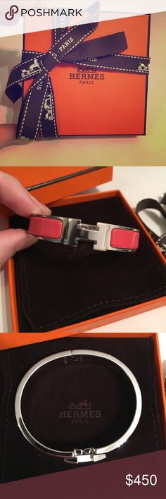 NEW Hermes H bracelet Brand new/never worn Hermes H bracelet. Still has the plastic cover on the metal- perfect condition. Hermes Jewelry Bracelets