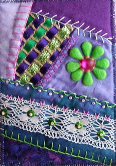 I ❤ crazy quilting . Crazy Quilt by Robyne Melia is Bobby La Crazy Quilting, Crazy Quilt Stitches, Crazy Quilt Blocks, Crazy Patchwork, Quilting Projects, Quilting Designs, Sewing Projects, Quilting Ideas, Ribbon Embroidery