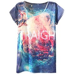 Blue Womens Galaxy Vintage Crew Neck T Shirt (4.210 CLP) ❤ liked on Polyvore featuring tops, t-shirts, blue, crew-neck tee, galaxy t shirt, blue top, blue tee and nebula t shirt