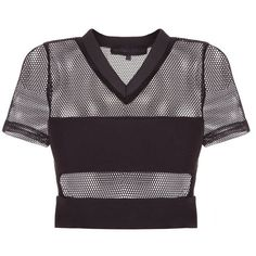 Kendall Kylie Mesh S/S Top ($64) ❤ liked on Polyvore featuring tops, mesh jersey, bandeau tops, purple bandeau top, cut-out crop tops and v neck jersey top