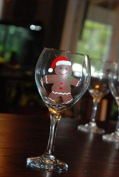 Hand Painted Christmas theme wine glass  by keepsakesbychristy