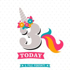 Idee Stanzschablone Horn und Schwanz von MD Einhorn verwenden. 3rd Birthday SVG, Unicorn Birthday iron on file, 3rd Birthday Shirt cut file, Girls Birthday SVG file, Unicorn DXF file, Commercial svg by queenSVGbee on Etsy