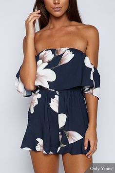 Random Floral Print Print Layered Design Off-The-Shoulder Playsuit