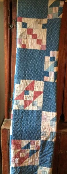 Old vintage antique blue calico fabric handmade quilt cutter textile AAFA