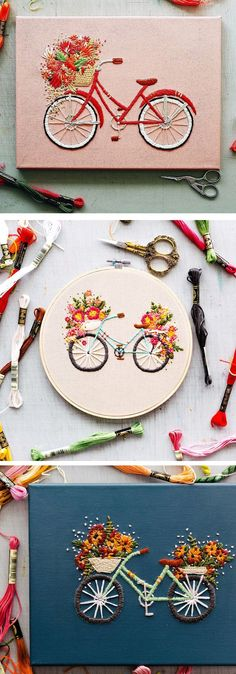 Bicycle embroidery by TrueFort // floral embroidery // flower stitching