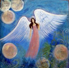 "Original Acrylic Painting Healing Energy Angel 10"" x 10"" x 1.5"" Gold Silver Metallic paint"