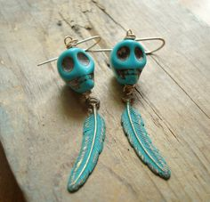 Skull and Feather Earrings - Aqua and Green Patina. Long Dangles Boho Chic Bohemian Hippie Statement Earrings Coachella Sterling Silver by FuchsiaBloomStudio on Etsy