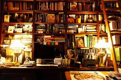 They're everywhere, and stuffed full!  I want this many places to store books... Maysles' home, The Selby