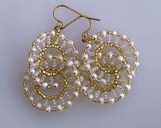 Two connected pearl hoops earrings E928 by Fleur-de-Irk.deviantart.com on @deviantART