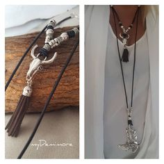 long multistrand cowgirl leather necklace, cowboy boots, boots pendant, Bohemian, hippie, bull skull, cowrie, tassel necklace by myDemimore on Etsy