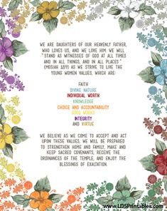 Free LDS Printables. Young Women Theme and Young Women Values. Free Printables for Mormons. LDS YW Values and Motto.