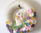 Easter Bunny Wreath, handmade USA, Kathy's Holiday