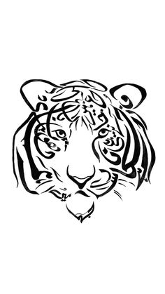. The use of arabic calligraphy to drow a tiger which is one of the animal which you can see it when you go to an trip to a jungle
