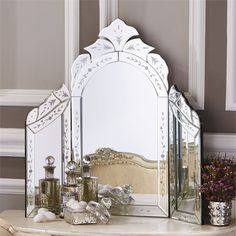 """Reggia Venetian Style Dressing Table Wing Mirror - Glass/MDF Our exquistely beautiful Reggia""""¢ Venetian Style Dressing Table Wing Mirror lends an antiqued feeling of feminity and elegance to your vani Dressing Table Vanity, Vintage Dressing Tables, Dressing Room, Dressing Mirror, Vintage Beauty, Tocador Vanity, Beautiful Mirrors, Color Plata, Home Decor Online"""