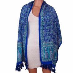Foulard bleu en soie imprimé paisley Accessoire de mode femme 55 X 182 Cm   Amazon.fr  Vêtements et accessoires d2f719ceebe