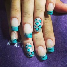 Uñas Cute Nails, Pretty Nails, French Tip Nails, Cute Nail Designs, Mani Pedi, Nail Arts, Turquoise, Aqua, Hair Beauty