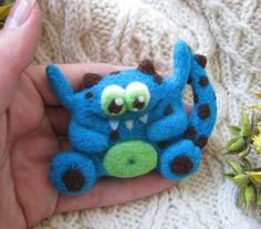 Monster Lilu Handmade Felt Brooch Needle Felting Monster Wool