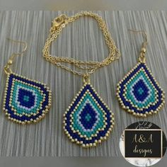 Miyuki delica drop necklace and earring work Seed Bead Jewelry, Bead Jewellery, Beaded Jewelry, Handmade Jewelry, Small Earrings, Bead Earrings, Crochet Earrings, Drop Necklace, Peyote Patterns