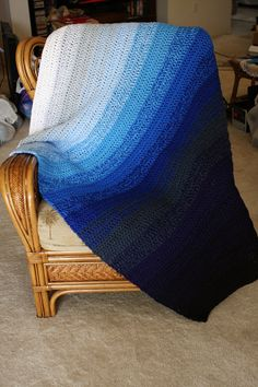 Blue Sea Ombre Afghan - Beautiful Gradient Blanket from Dark to Light on Etsy, $375.00