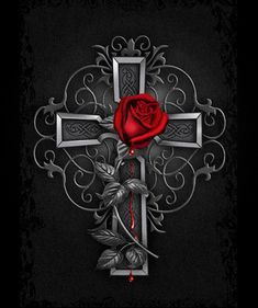 Nice Gothic Rose Artwork – GOTHIC PINK Best Picture For Coloring Pages hair For Your Taste You are looking for something, and it is going. Dark Gothic Art, Gothic Artwork, Gothic Fantasy Art, Gothic Crosses, Cross Wallpaper, Gothic Wallpaper, Flower Wallpaper, Cross Pictures, Skull Pictures