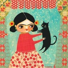 FRIDA KHALO black cat PRINT of original painting collage mixed media by tascha on Etsy
