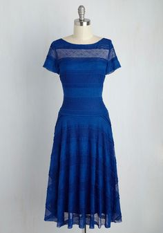 Cityscape Sashay Dress - Blue, Solid, Daytime Party, A-line, Short Sleeves, Summer, Lace, Best, Knit