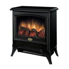Dimplex W Black Wood and Metal Fan-Forced Electric Stove at Lowe's. This space-saving stove is ideal for any small space that could use some warmth and charm.Classic picture frame front, matte black finish, damper-look Dimplex Electric Stove, Electric Stove Fireplace, Gas Fireplace, Electric Fireplaces, Black Fireplace, Fireplace Modern, Fireplace Ideas, Fireplace Design, Rustic Kitchens