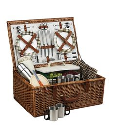 London Plaid Dorset Four-Person Coffee Service Picnic Basket