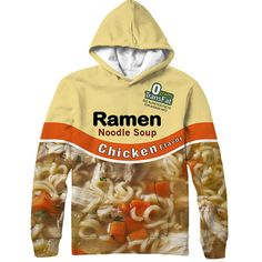 Become one with the chicken ramen in our all over print hoodie. This hoodie features the chicken ramen noodle soup packaging. Lick your lips, and prepare to feast on some noodles with this awesome hoo