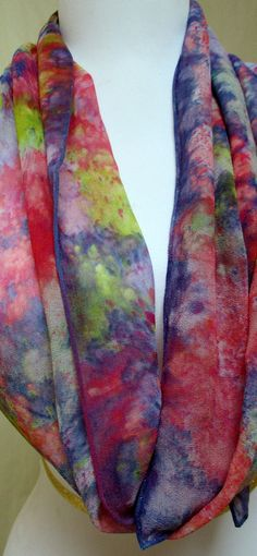 Silk scarf Chiffon Hand Painted Designer Accessory. by Silkworth