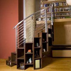 bookshelving + spiral stair