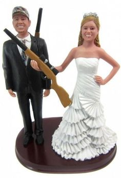 Hunting bride and groom with shotguns wedding cake topper - customized to look like you!