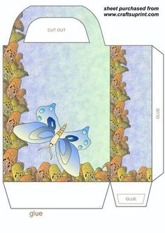 Lily and butterfly gift bag 4 on Craftsuprint designed by Stephen Poore - Lily and butterfly gift bag,you will need to print 2 sheets to make gift bag - Now available for download!