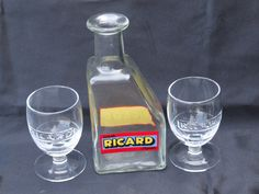 Ricard water jug and 2 period glasses by VintageRetroOddities