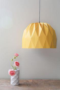 Origami grand abat-jour de lampe, abat-jour jaune accrochant, papier