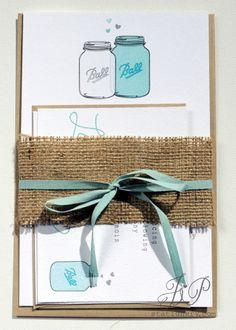 Rustic Wedding Invitation   Love Jars by JPstationery on Etsy