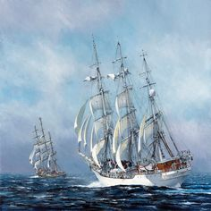 """The Chase. Tall ship """"Christian Radich"""" chasing down """"Stad Amsterdam"""""""