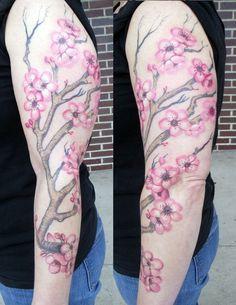 Cherry Blossom Sleeve Tattoo - http://99tattooideas.com/cherry-blossom-sleeve-tattoo/ #tattoo #tattoos #ink