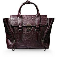 3.1 PHILLIP LIM Medium leather bag (21 645 UAH) ❤ liked on Polyvore featuring bags, handbags, purses, deep purple, 3.1 phillip lim handbag, genuine leather bag, purple leather handbag, purple bag i leather purse