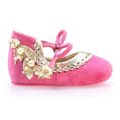 e5c30b09fbb2 Camellia - Pink   gold leather baby girl shoes Baby moccasins Newborn shoes  Baby shower gift Fuchsia pink shoes Christening shoes by Vibys