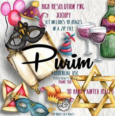 Book Clip Art, Happy Purim, Tora, Jewish Celebrations, Party Hats, Nursery Art, Etsy Store, Wall Art Prints, Hand Painted