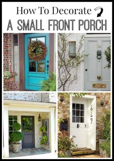 Lots of tips and a dozen inspiring photos to help you decorate your small front porch. Lots of tips and a dozen inspiring photos to help you decorate your small front porch. Small Front Porches, Decks And Porches, Farmhouse Front Porches, Front Door Porch, Front Door Decor, Front Doors, Front Entry, Garage Doors, Small Porch Decorating
