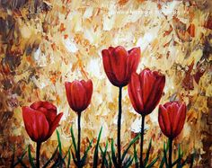 Realistic Red Tulips Giclee Print 8x10 Nature Red Flowers
