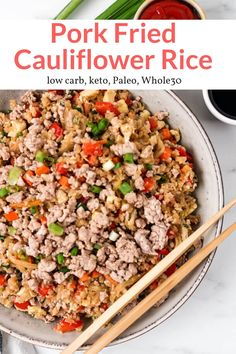 These easy low carb and keto Pork Fried Rice made with cauliflower rice tastes just like your favorite Chinese takeout and is ready in 20 minutes. Pork Recipes, Paleo Recipes, Dinner Recipes, Recipies, Slender Kitchen, Cauliflower Fried Rice, Sprouts With Bacon, Free Meal Plans, Rezepte