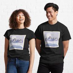 """Glacier Mountain Ranges"" T-shirt by Joshua1870   Redbubble No Rain, Pretty Designs, My T Shirt, Tee Shirts, Funny Shirts, Vincent Van Gogh, Tshirt Colors, Female Models, Fabric Weights"